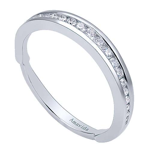 18k White Gold Wedding Band angle 3