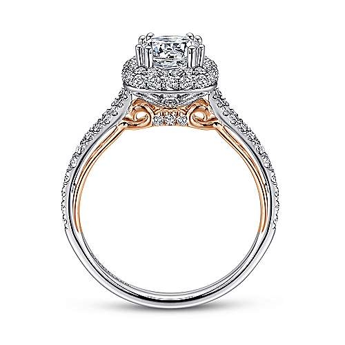 18k White-Rose Gold Cushion Double Halo Round Diamond Engagement Ring