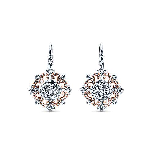 18k White and Pink Gold Intricate Pave Diamond Drop