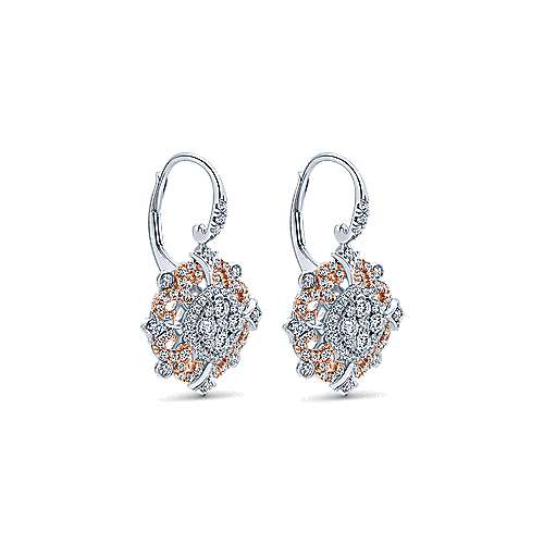 18k White/pink Gold Allure Drop Earrings angle 2