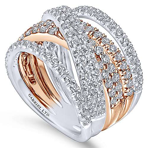 18k White/pink Gold Contemporary Fashion Ladies