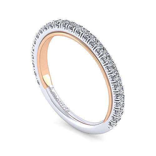 18k White/pink Gold Contemporary Straight Wedding Band angle 3