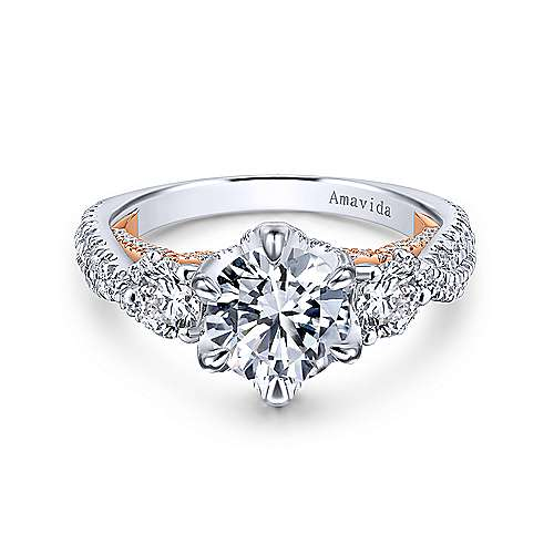 Gabriel - 18k White/pink Gold Round 3 Stones Engagement Ring
