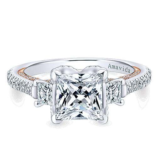 Gabriel - 18k White/pink Gold Princess Cut 3 Stones Engagement Ring