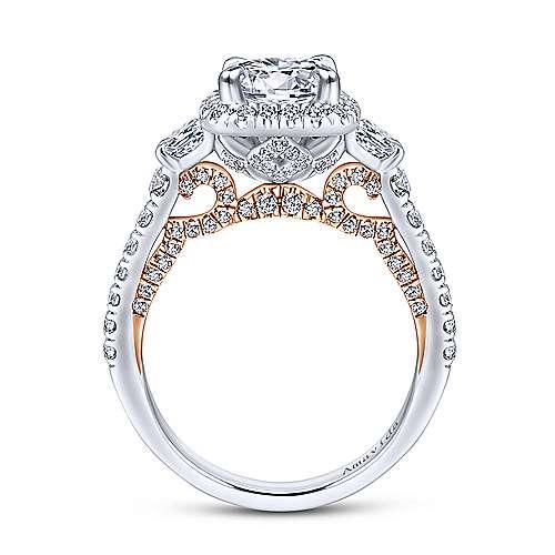 18k White/pink Gold Diamond 3 Stones Halo Engagement Ring angle 2