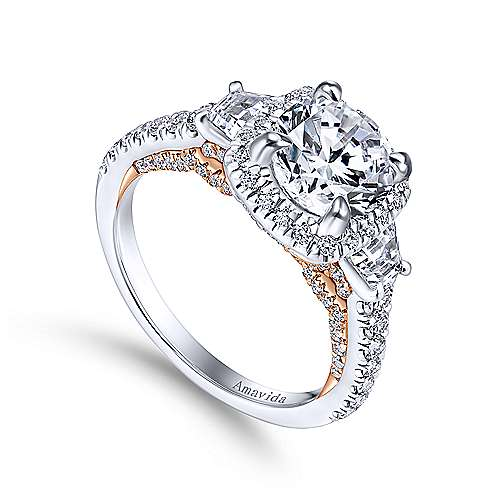 18k White/pink Gold Diamond 3 Stones Halo Engagement Ring angle 3