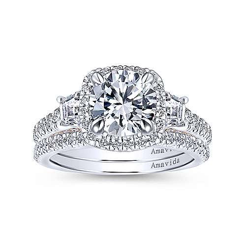 18k White/pink Gold Diamond 3 Stones Halo Engagement Ring angle 4