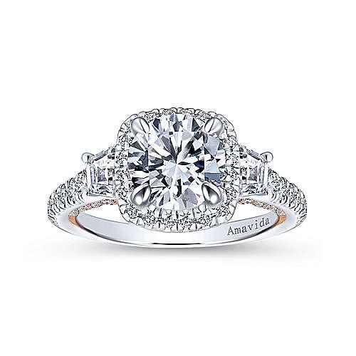 18k White/pink Gold Diamond 3 Stones Halo Engagement Ring angle 5