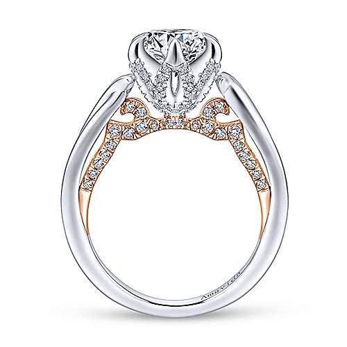 18k White/pink Gold Diamond Criss Cross Engagement Ring angle 2