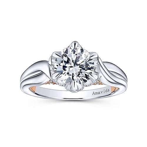 18k White/pink Gold Diamond Criss Cross Engagement Ring angle 5