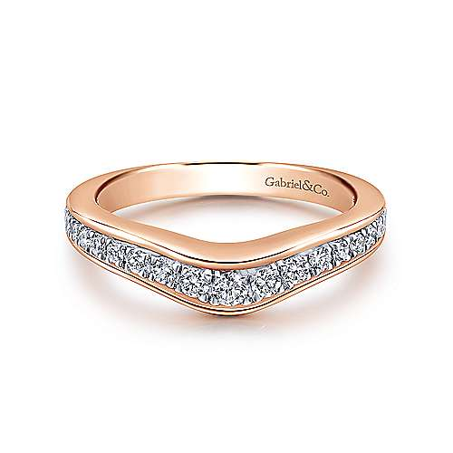 Gabriel - 18k White/pink Gold Contemporary Curved Wedding Band