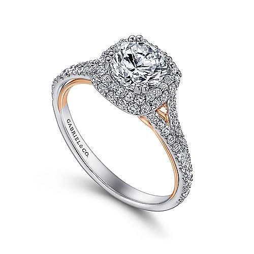 18k White/pink Gold Diamond Double Halo Engagement Ring angle 3