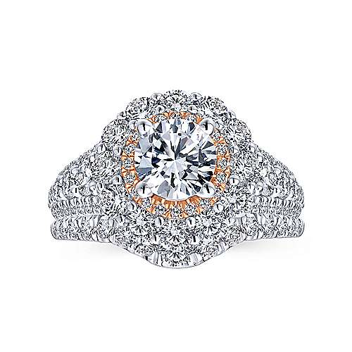 18k White/pink Gold Diamond Double Halo Engagement Ring angle 4