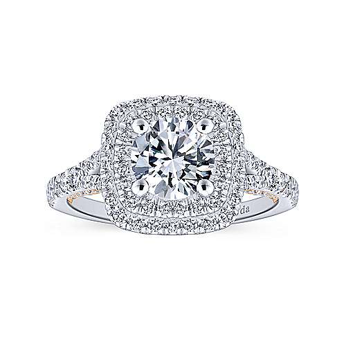 18k White/pink Gold Diamond Double Halo Engagement Ring angle 5