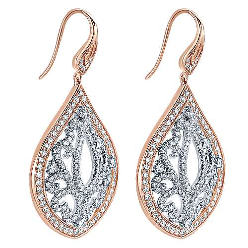 18k White/pink Gold Diamond Drop Earrings angle 2