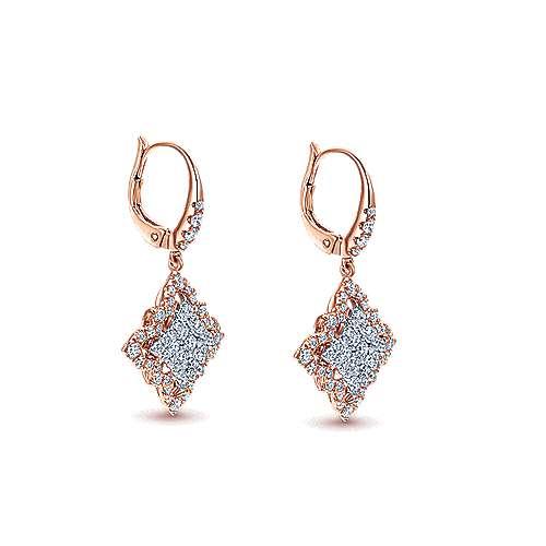 18k White/pink Gold Diamond Drop Earrings angle 2