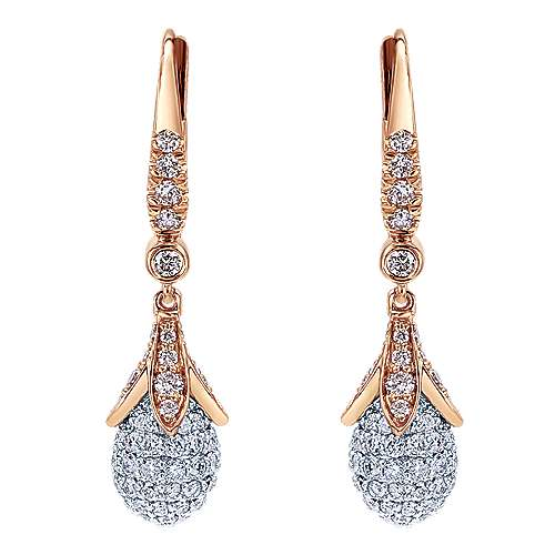 Gabriel - 18k White/pink Gold Silk Drop Earrings