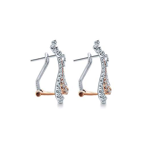 18k White/pink Gold Diamond Drop Earrings angle 3