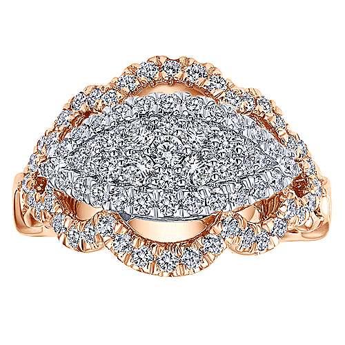 18k White/pink Gold Diamond Fashion Ladies