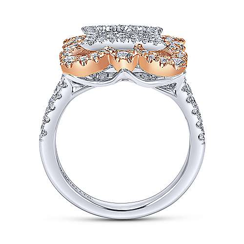 18k White/pink Gold Diamond Fashion Ladies