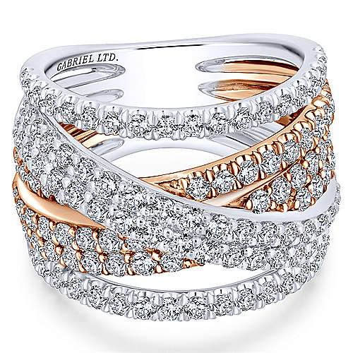 18k White/pink Gold Contemporary Fashion