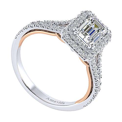 18k White/pink Gold Diamond Halo Engagement Ring angle 3