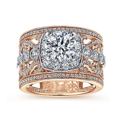 18k White/pink Gold Diamond Halo Engagement Ring angle 5