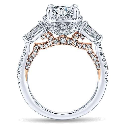 18k White/pink Gold Diamond Halo Engagement Ring angle 2
