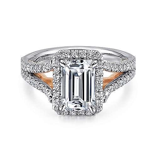 Gabriel - 18k White/pink Gold Emerald Cut Halo Engagement Ring