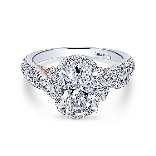 Gabriel - 18k White/pink Gold Oval Halo Engagement Ring