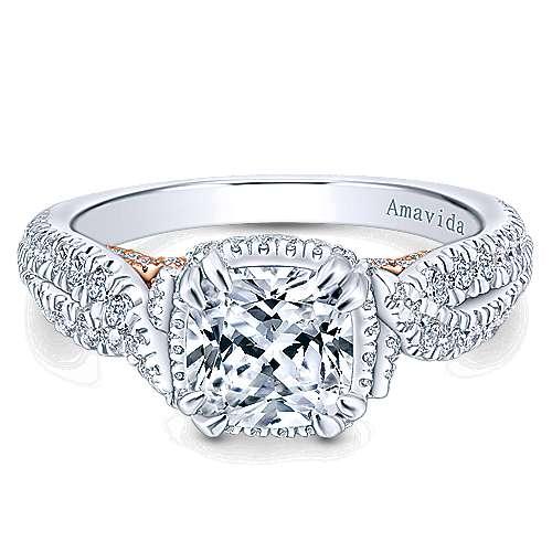 Gabriel - 18k White/pink Gold Cushion Cut Halo Engagement Ring