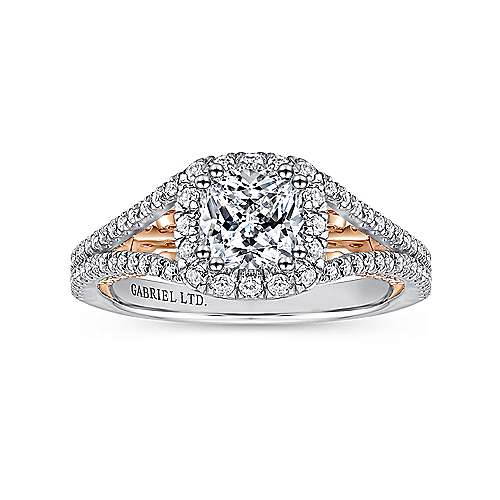 18k White/pink Gold Diamond Halo Engagement Ring angle 5