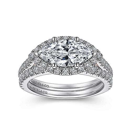 18k White/pink Gold Diamond Halo Engagement Ring angle 4