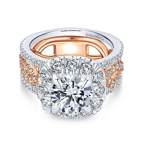 18k White/pink Gold Diamond Halo