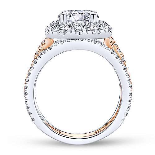 18k White/pink Gold Diamond Halo Engagement Ring angle 2