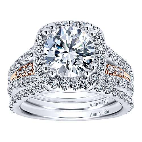 18k White/pink Gold Diamond Halo Engagement Ring angle 4