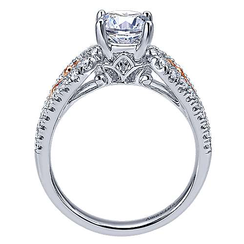 18k White/pink Gold Diamond Split Shank Engagement Ring angle 2