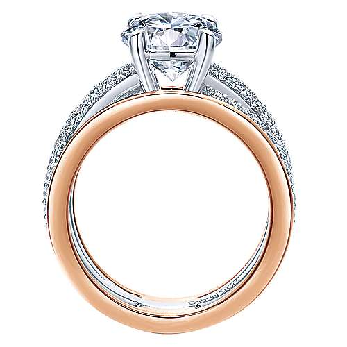 18k White/pink Gold Diamond Split Shank Engagement Ring angle 2