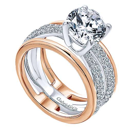 18k White/pink Gold Diamond Split Shank Engagement Ring angle 3