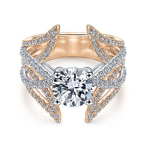18k White/pink Gold Diamond Split Shank Engagement Ring angle 1