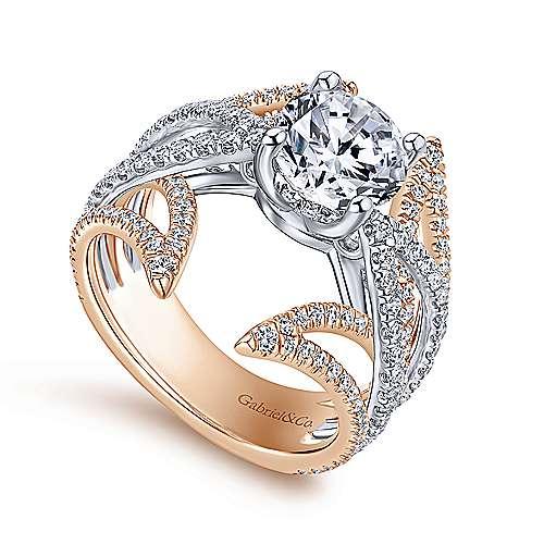 18k White/pink Gold Diamond Split Shank Engagement Ring angle 3