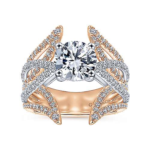 18k White/pink Gold Diamond Split Shank Engagement Ring angle 5