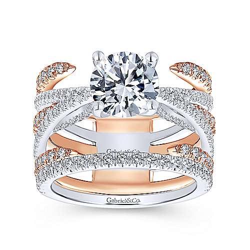 18k White/pink Gold Diamond Split Shank Engagement Ring angle 4