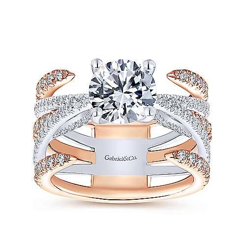 18k White/pink Gold Diamond Split Shank Engagement Ring angle 5