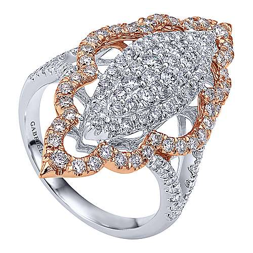 18k White/pink Gold Diamond Statement Ladies