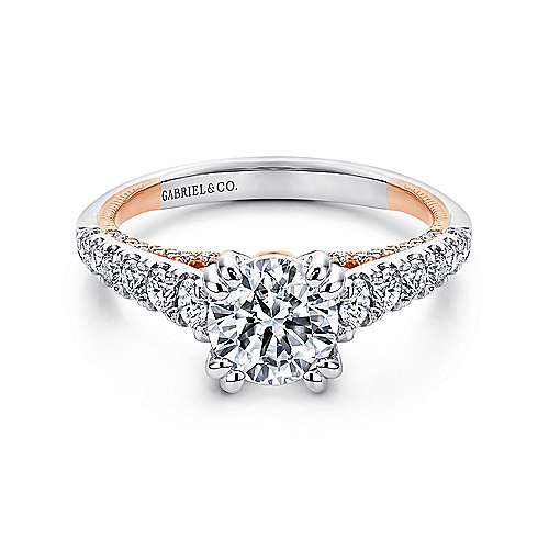 Gabriel - 18k White/pink Gold Round Straight Engagement Ring