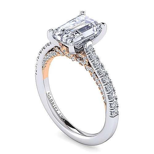 18k White/pink Gold Diamond Straight Engagement Ring angle 3