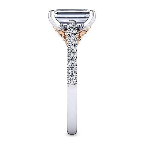 18k White/pink Gold Diamond Straight Engagement Ring angle 5