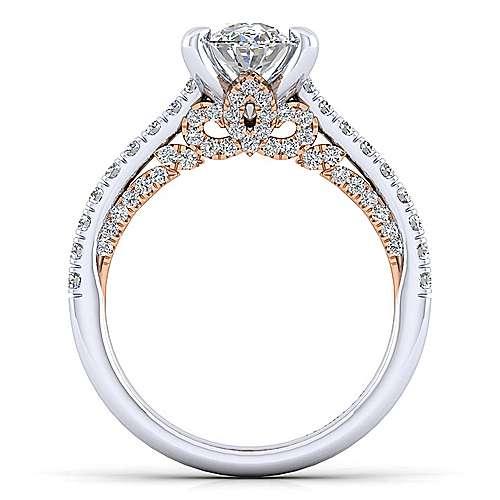18k White/pink Gold Diamond Straight Engagement Ring angle 2