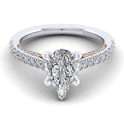 Gabriel - 18k White/pink Gold Pear Shape Straight Engagement Ring